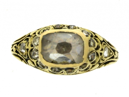 Old mine diamond and enamel ring, late 17th century.
