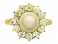 Tiffany & Co. antique natural pearl and diamond ring, American, circa 1900.