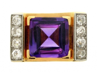 front-view-Amethyst and diamond cocktail ring, French, circa 1945.