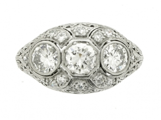 front-view-Ornate three stone diamond cluster ring, circa 1910.