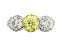 front-view-Fancy colour yellow and white diamond three stone ring, circa 1910.