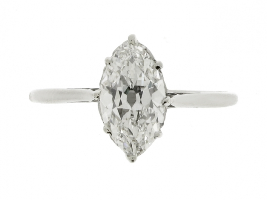 front-view-Solitaire marquise diamond ring, circa 1910.