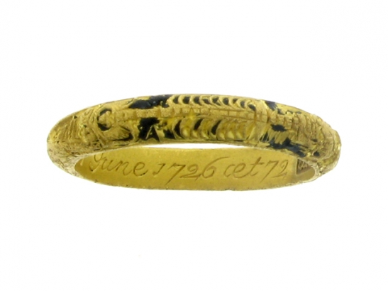 front-view-Gold and black enamel mourning ring, circa 1726.