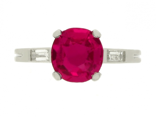 front-view-Boucheron natural Burmese ruby and diamond ring, French, circa 1935.