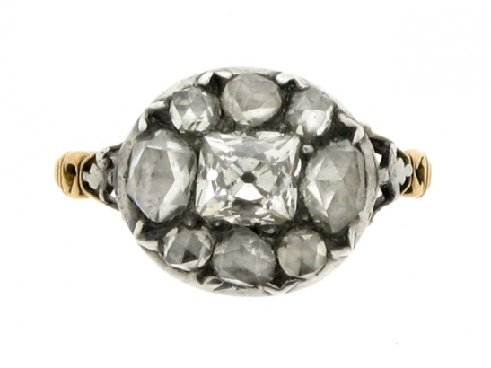 front-view-Georgian diamond ring, English, circa 1770.