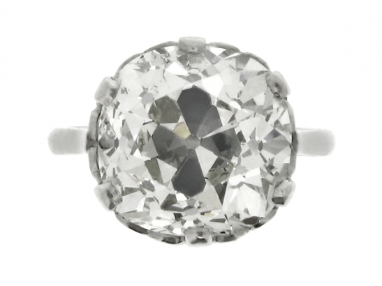 front-view-Cushion shape solitaire old mine diamond ring, circa 1905.