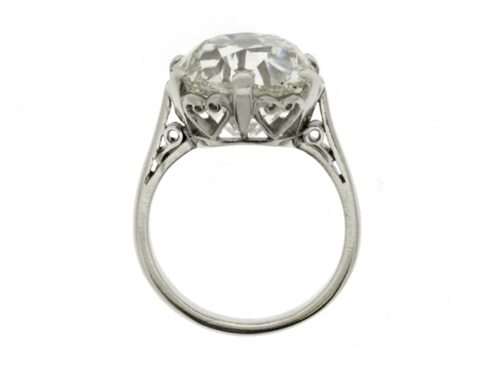 back-view-Cushion shape solitaire old mine diamond ring, circa 1905.
