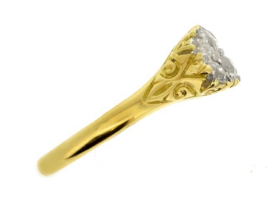 Antique carved two row diamond ring, circa 1890.