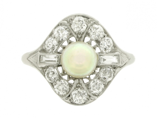 Natural pearl and diamond coronet cluster ring, circa 1920.