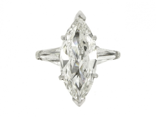front-view-Marquise diamond  ring with tapered baguette diamond set  shoulders