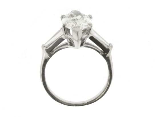 back-view-Marquise diamond  ring with tapered baguette diamond set  shoulders