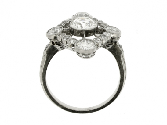 Diamond cluster ring, circa 1920.