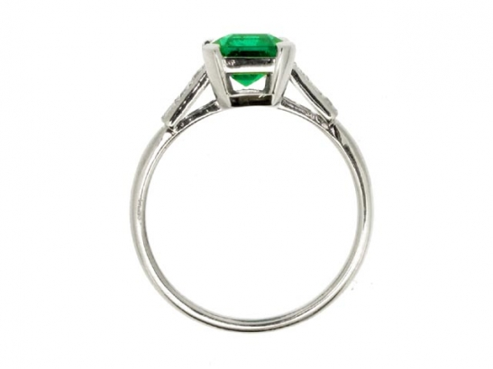 back-view-Art Deco emerald and diamond ring, circa 1930.