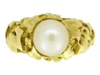 Wiese solitaire natural pearl ring, circa 1900.