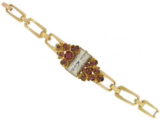 full-view-vintage-Cartier-ruby-set-watch-berganza-hatton-garden