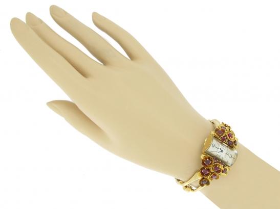 hand-view-vintage-Cartier-ruby-set-watch-berganza-hatton-garden