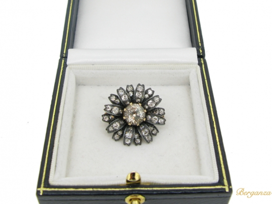 boxed-view-Antique yellow sapphire and diamond flower brooch
