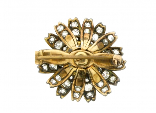 back-view-Antique yellow sapphire and diamond flower brooch