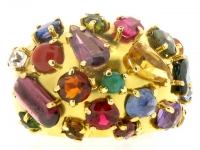 front-view-Multi-stone cluster ring, circa 1950.