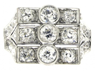 front-view-Art Deco three row diamond ring, circa 1930.