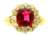 Antique red spinel and diamond cluster ring, circa 1890.