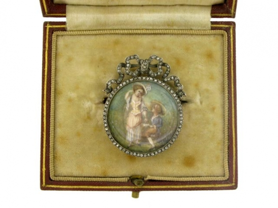 boxed-view-Antique miniature and rose diamond brooch, French circa 1800.
