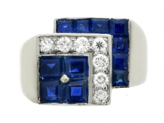 front-view-Tiffany & Co. sapphire and diamond ring, American, circa 1935.