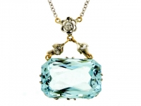 front-view-Aquamarine and diamond pendant, circa 1910.