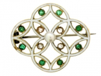 Enamel and Demantoid Pearl Brooch.