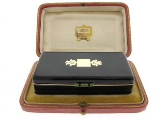 front view Cartier enamelled silver gilt box