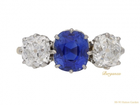 front-view-Kashmir-sapphire-and-diamond-three-stone-ring,-circa-1920.-berganza-hatton-garden