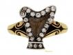 alt='Antique enamel and diamond set harp memorial ring, circa 1895.'