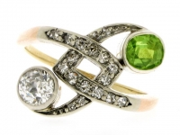 Diamond and demantoid garnet cross over ring, Russian, circa 1880.