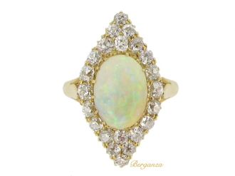 front-view-Antique opal and diamond cluster ring, circa 1900.