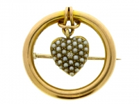 front-view-Antique Diamond Pearl Heart Brooch in Gold.