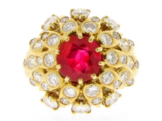 front-view-Van Cleef & Arpels natural Burmese ruby and diamond ring, circa 1960.