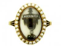 Antique Diamond and Pearl 'Urn' Memorial Ring, circa 1780.