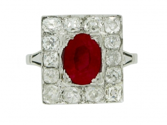 front-view-Art Deco natural ruby and diamond coronet cluster ring, circa 1925.