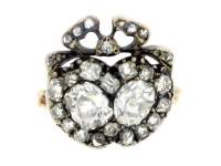 Antique old mine cut diamond double heart ring, circa 1860.
