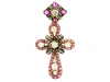 Auguste Belleau ruby cabochon and diamond cross, French, circa 1880.