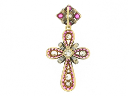 side-view-Auguste Belleau ruby cabochon and diamond cross