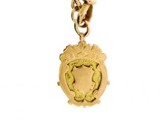 front-view-John Goode & Sons rose gold Albert chain with fob,