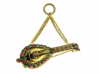 front-view-Georgian gold, ruby and emerald mandolin brooch/pendant locket