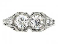 Kohn Art Deco two stone diamond ring, American, circa 1930.