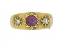 front-view-Antique star ruby and diamond locket ring, circa 1860.