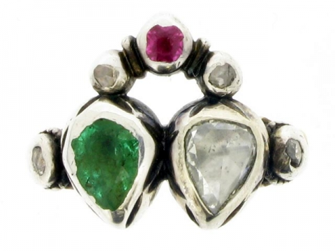 Antique emerald, ruby and diamond ring, Dutch, circa 1760.