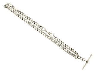 Sterling silver Albert chain, English.