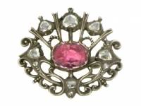 front view Antique pink topaz and rose diamond brooch