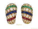 front cartier ruby diamond sapphire emerald earrings berganza