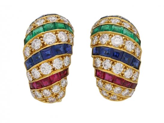 cartier ruby diamond sapphire emerald earrings berganza